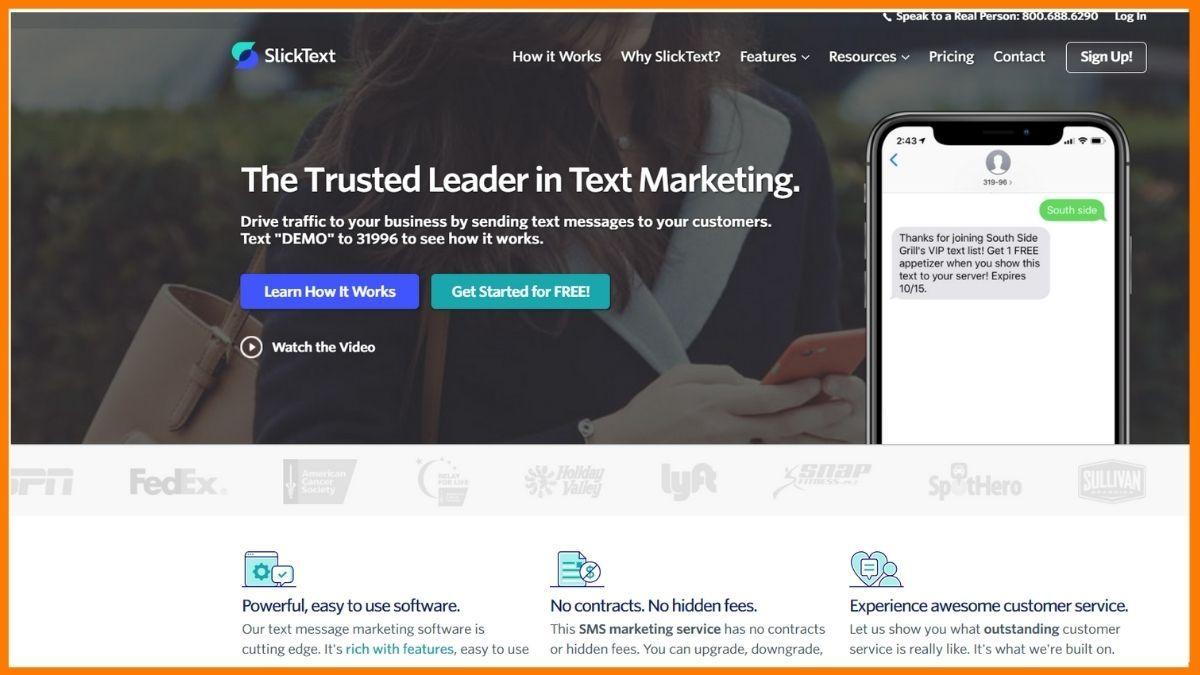 Slicktext Website SMS marketing