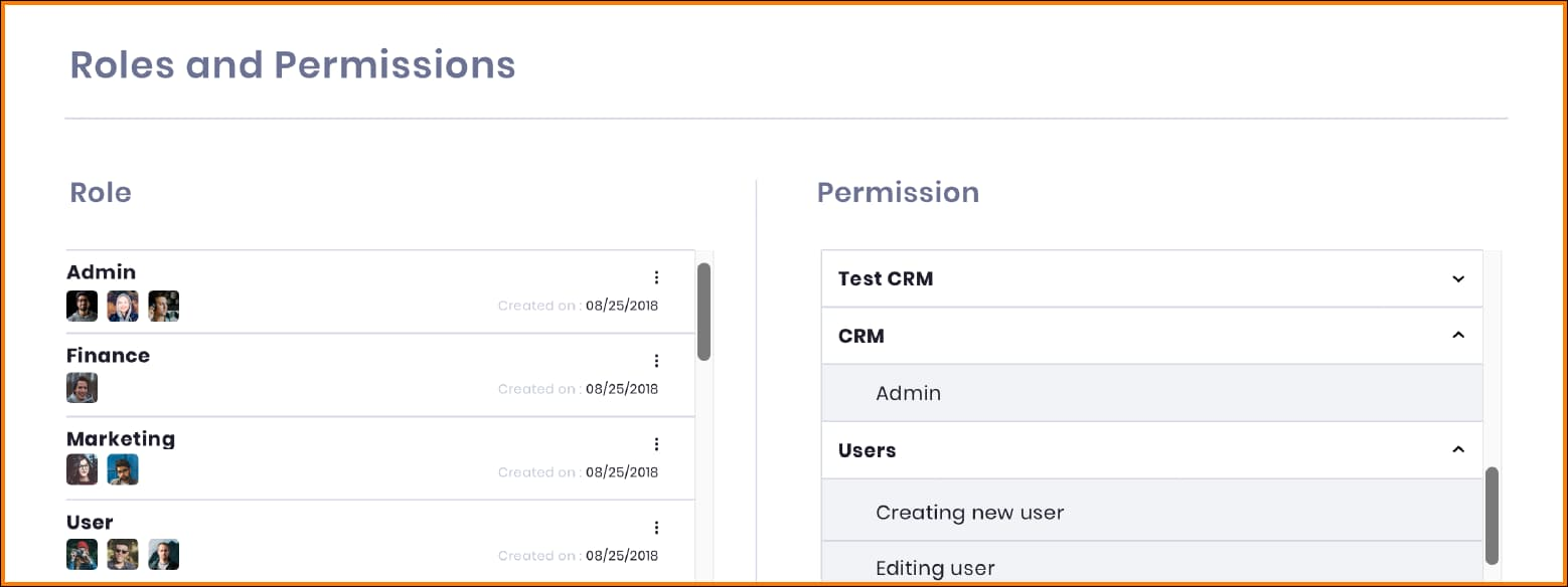Workiom - Roles and Permissions dashboard