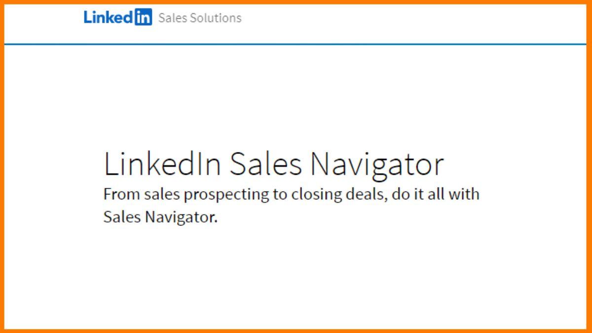 sales intelligence tool-LinkedIn Sales Navigator