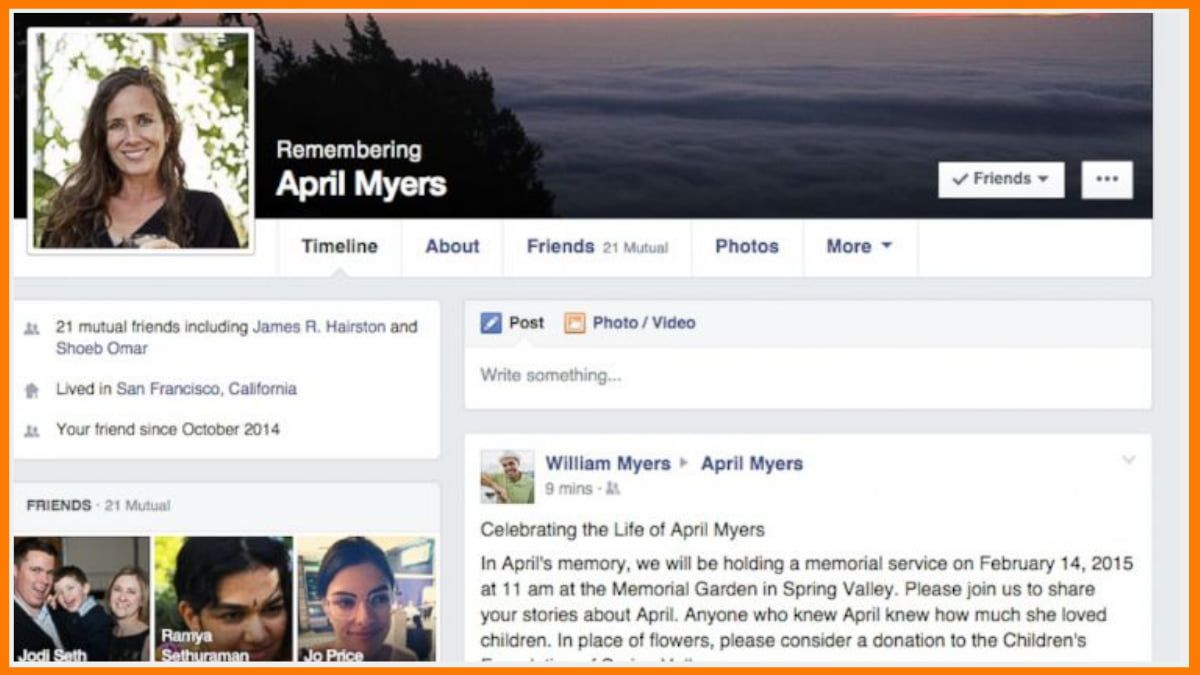 Facebook Memorial Page