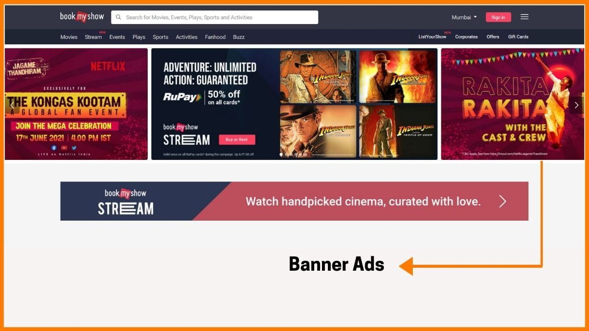 BookMyShow banner Advertising
