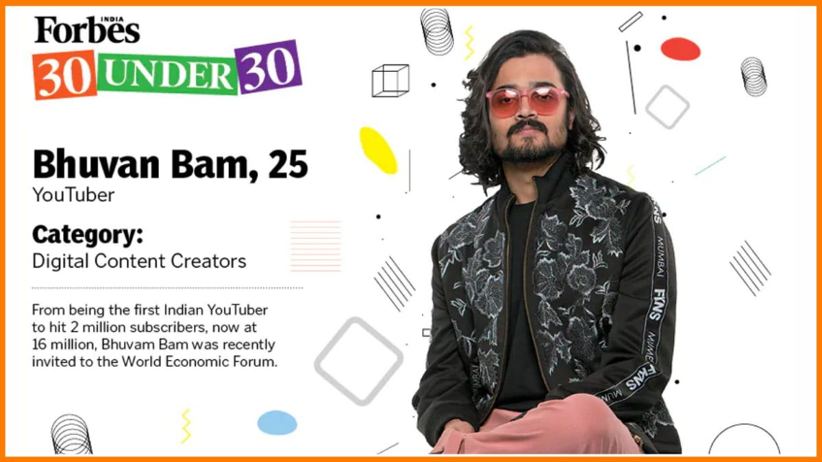 Bhuvan Bam in the list of Forbes 30 under 30