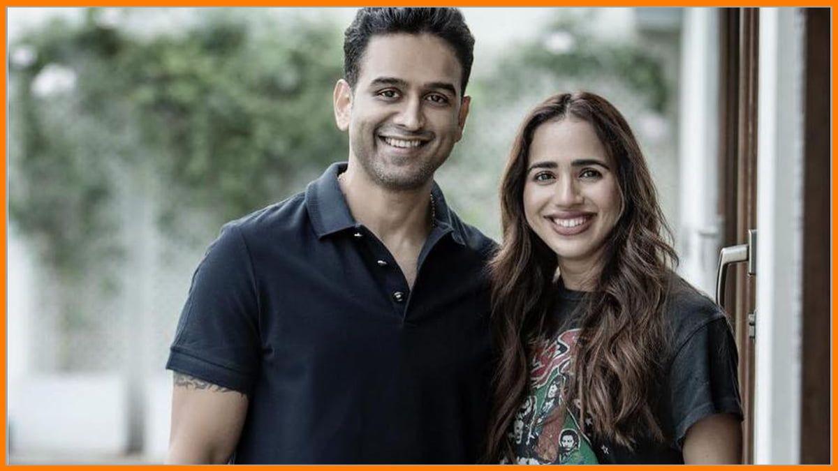Nithin Kamath with his wife Seema Patil