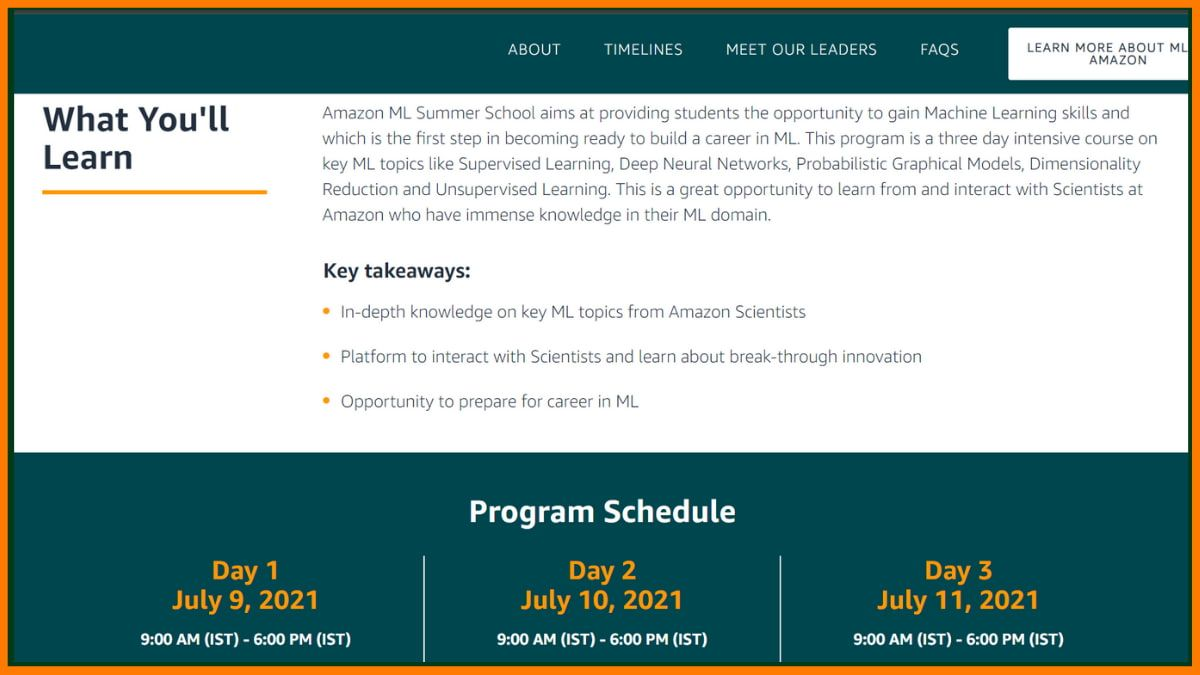 You can register for Virtual Machine Learning Summer School course on Amazon summer school India website