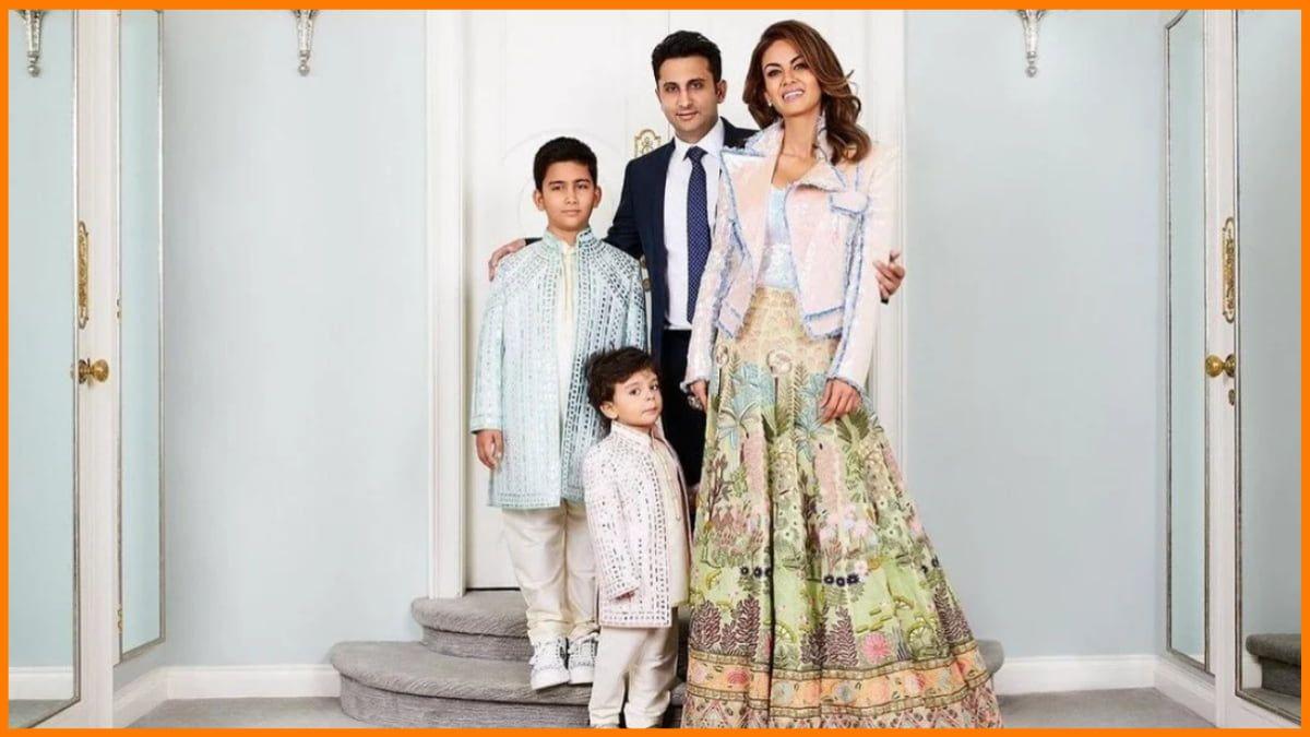 Adar Poonawalla with Natasha Poonawalla and his Children