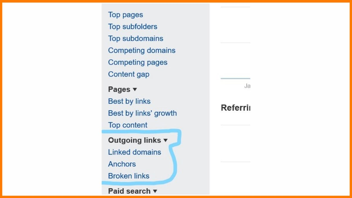 Check Outgoing Links from Ahrefs