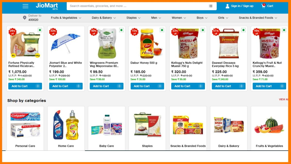 Reliance jiomart- Online Grocery