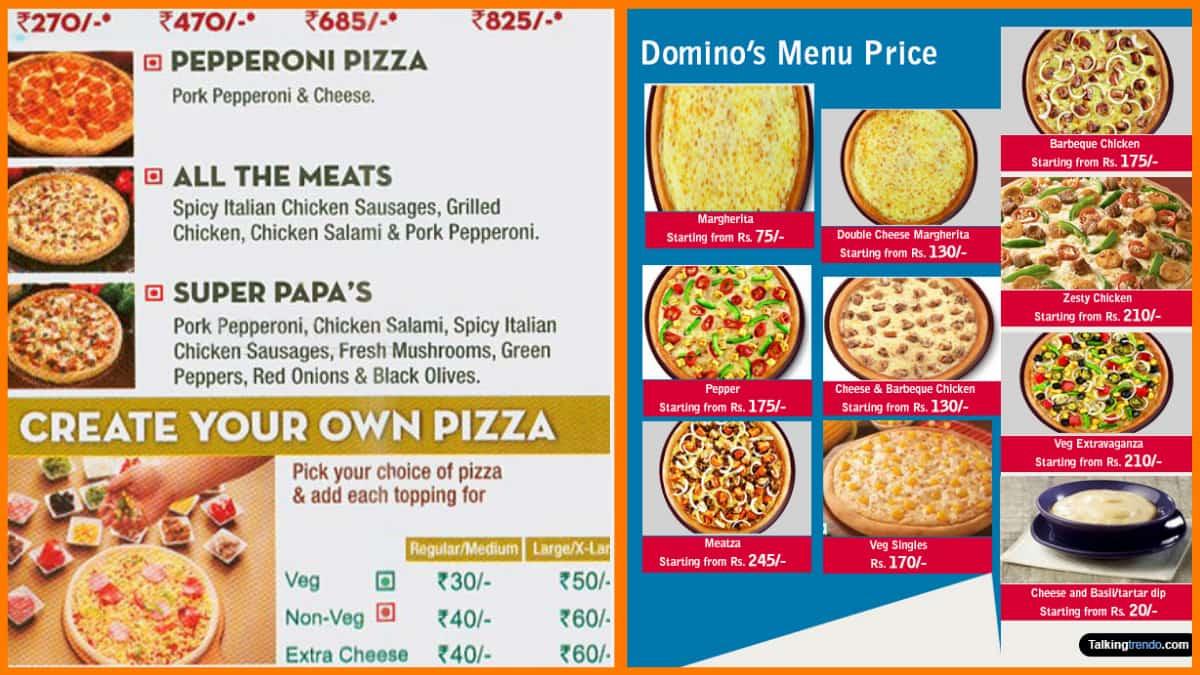 Papa Johns menu vs Dominos menu
