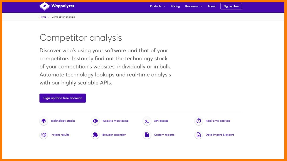 Wappalyzer- Free Online Competitor Analysis Tools