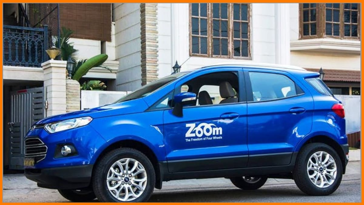 Zoomcar logo on its Cars