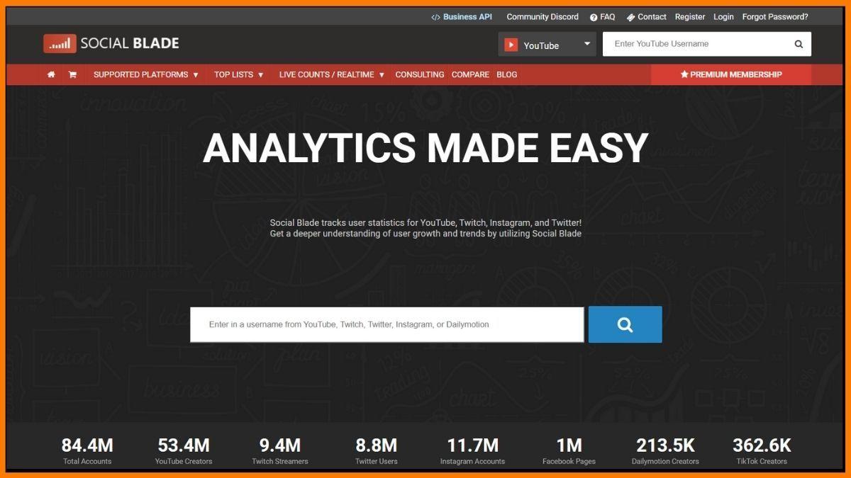Social Blade -SEO Competitor Analysis Tools