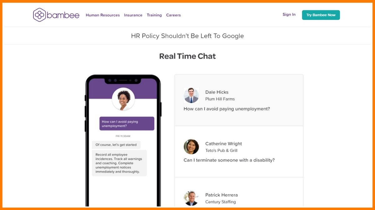 Bambee Real Time Chat Feature