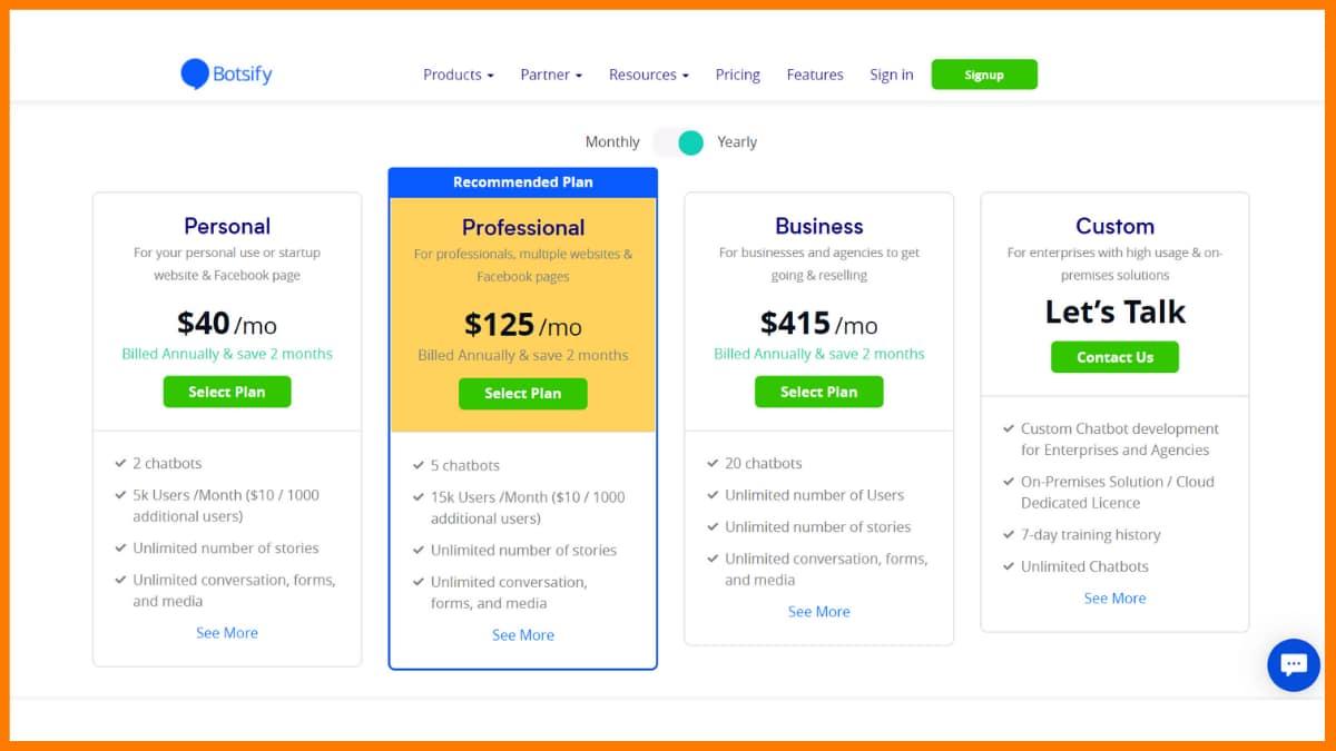 Botsify Pricing - Chatbot Saas Tools