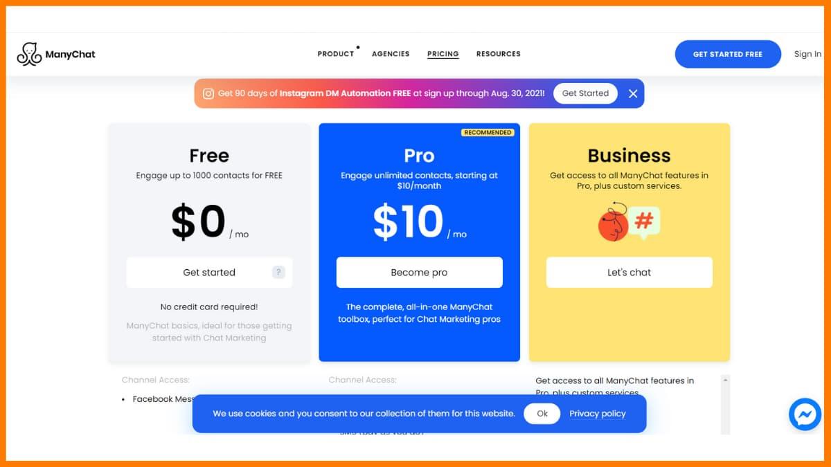 ManyChat Pricing - Chatbot SaasTools