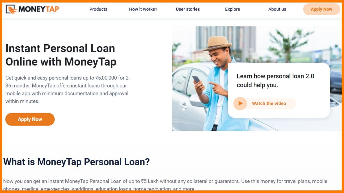 MoneyTap Website