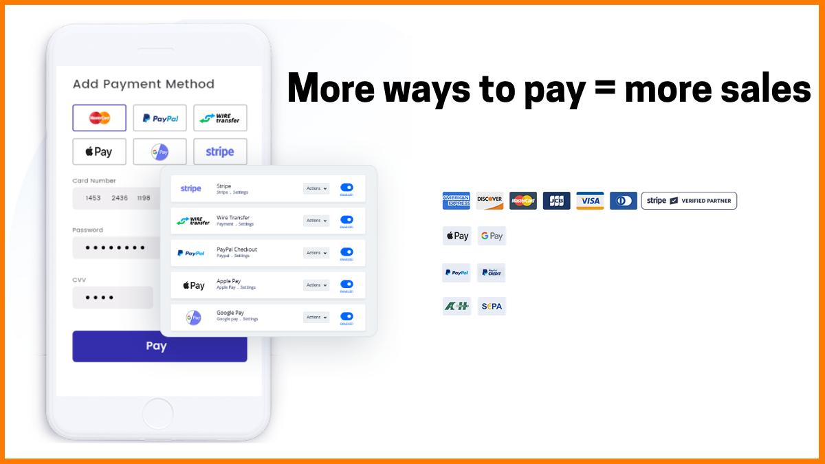 PayKickStart accepts all popular payment gateways