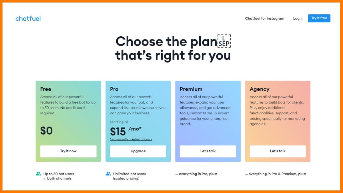 Chatfuel Pricing - Chatbot Saas Tools
