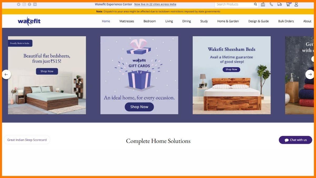 Wakefit Website
