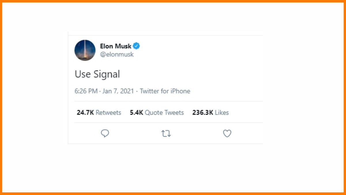 Elon Musk Tweet about Signal