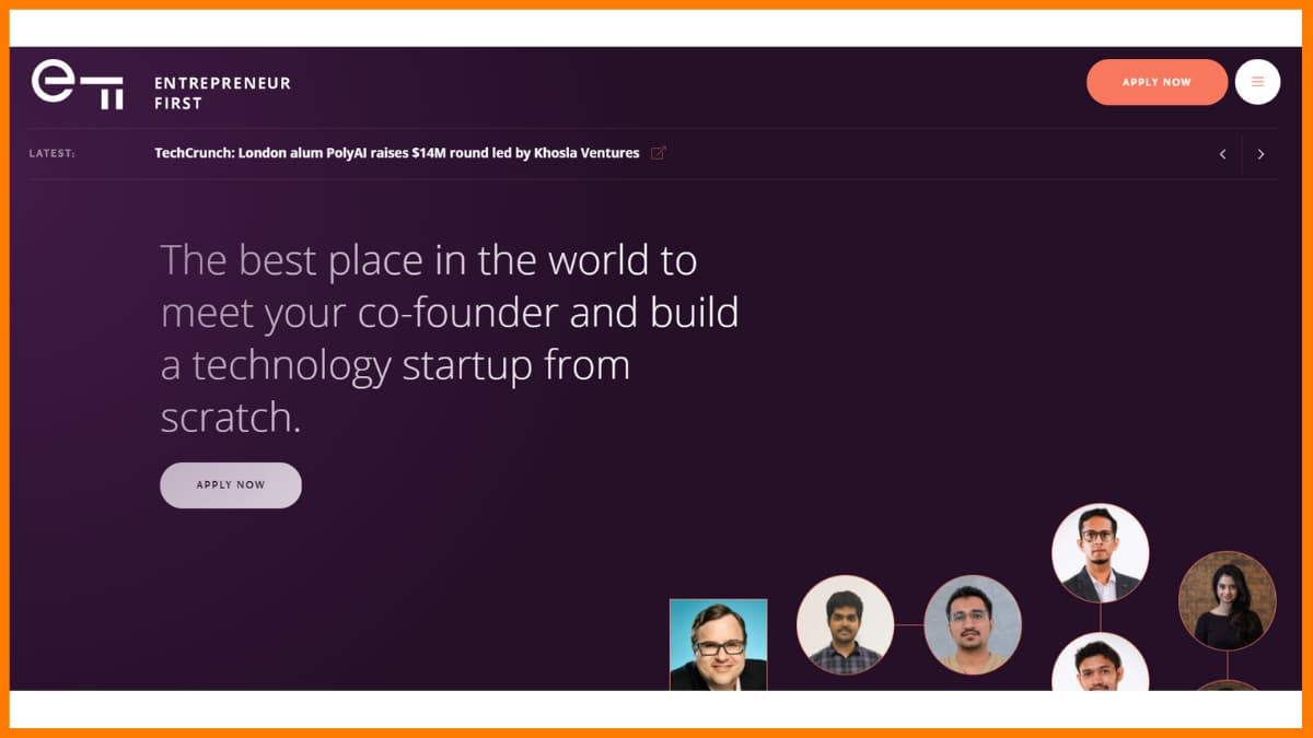 Entrepreneur First Website - A startup incubator in London