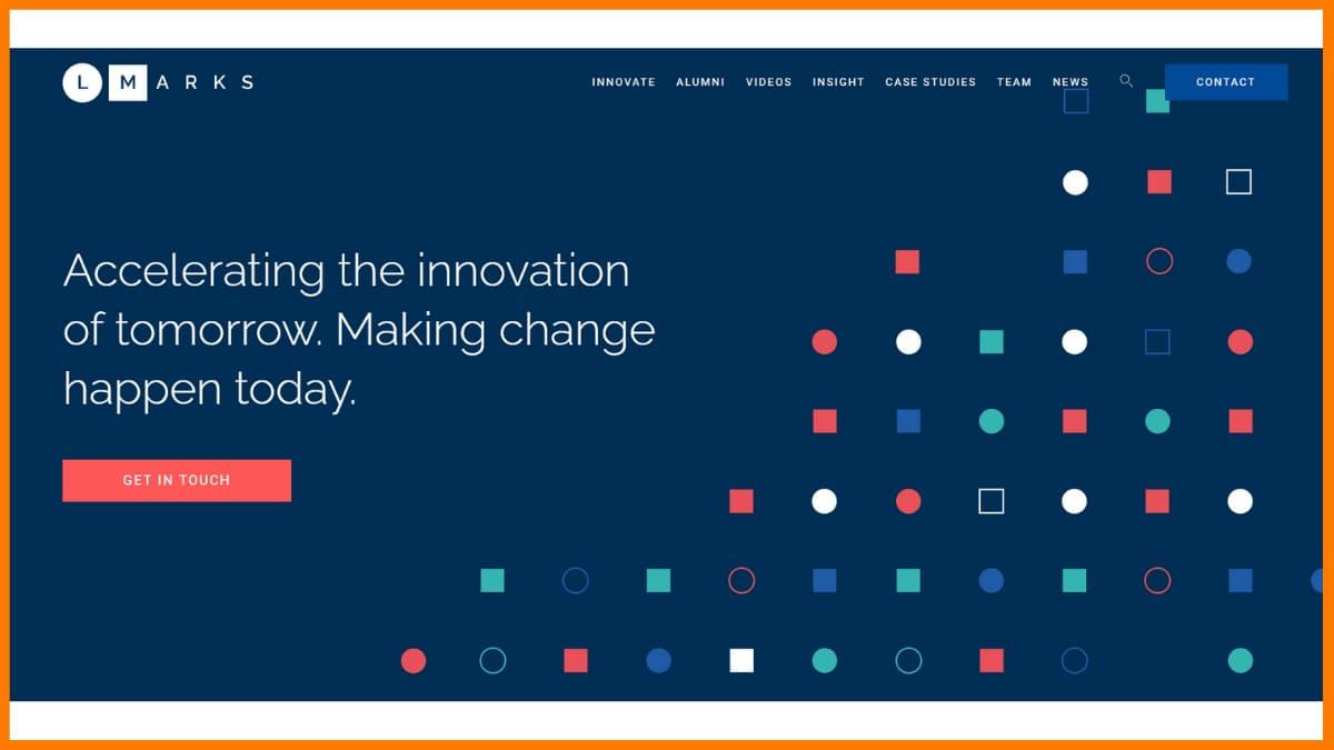 L Marks website - A startup accelerator in London