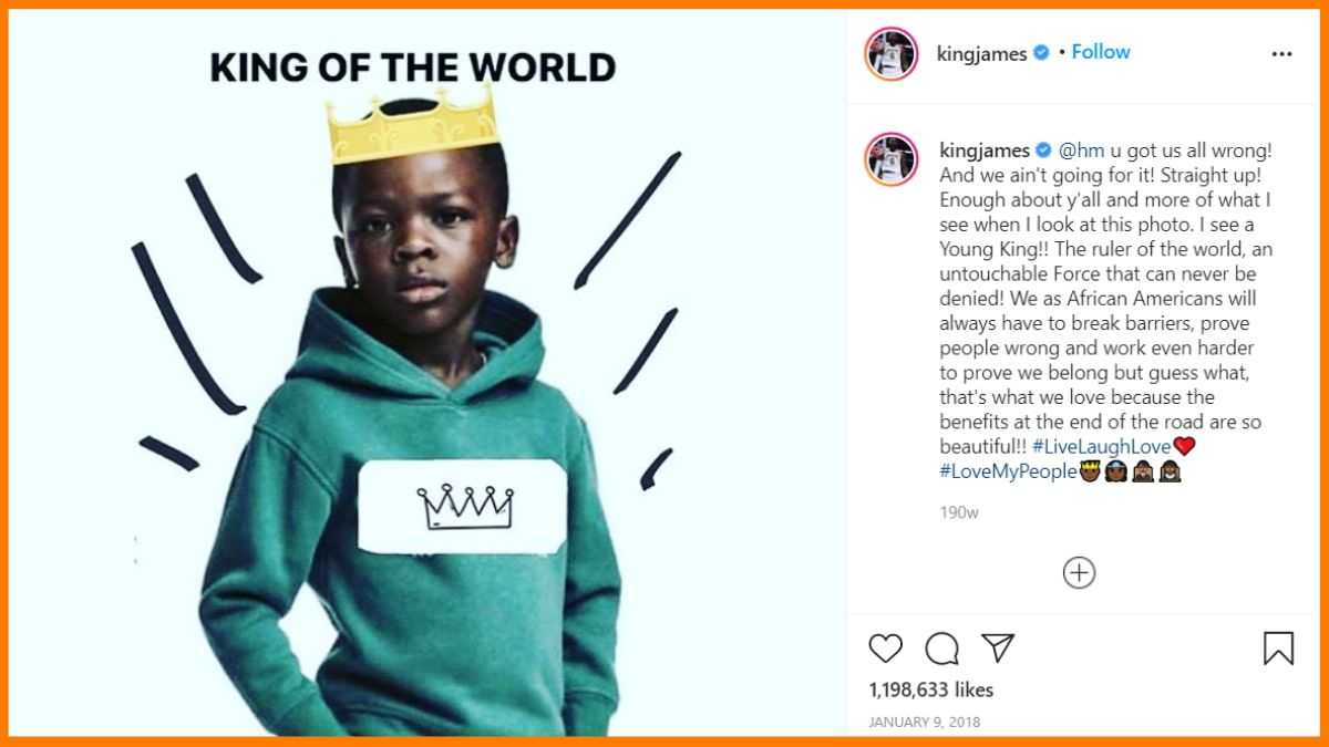 LeBron James on its Instagram expressed his opinion on H&M's ad