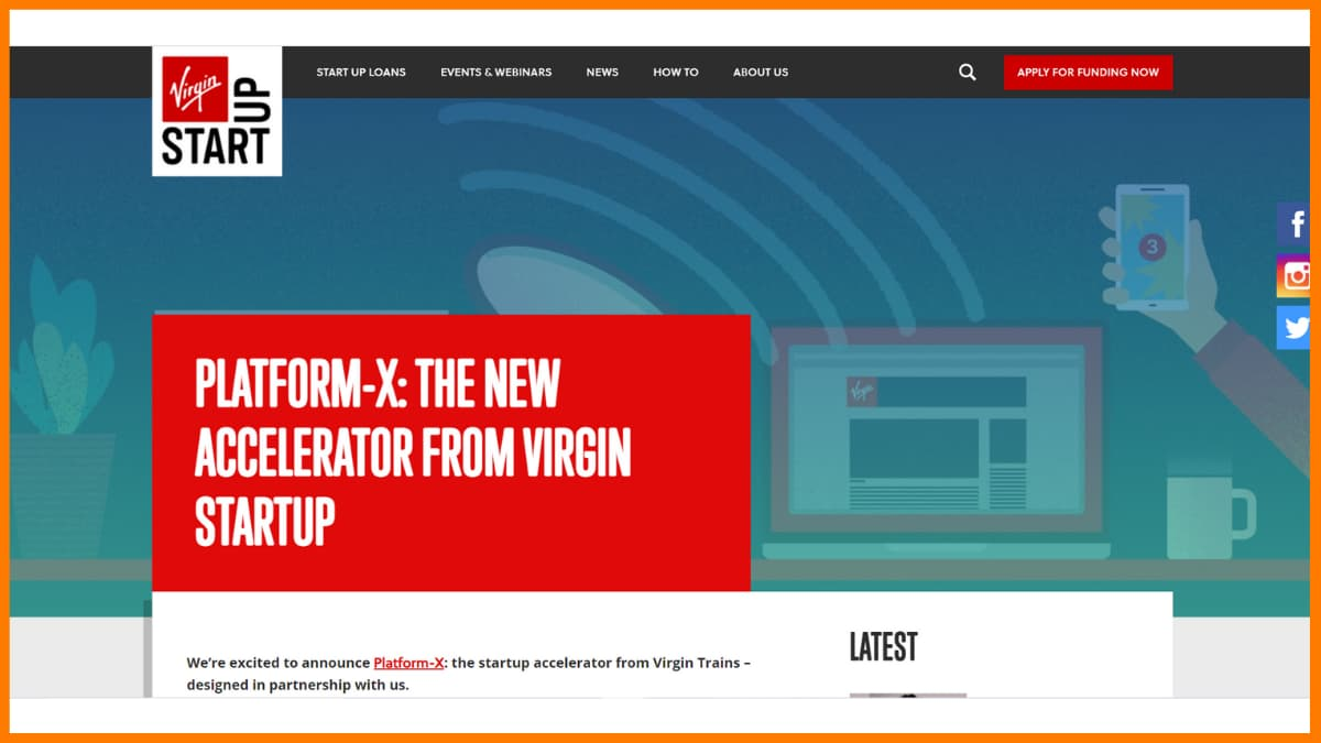 Platform-X website - A startup accelerator in London
