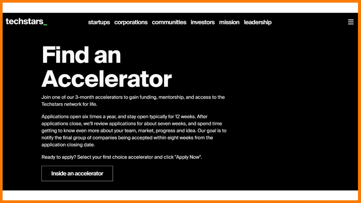 Techstars website - A startup incubator and accelerator in London