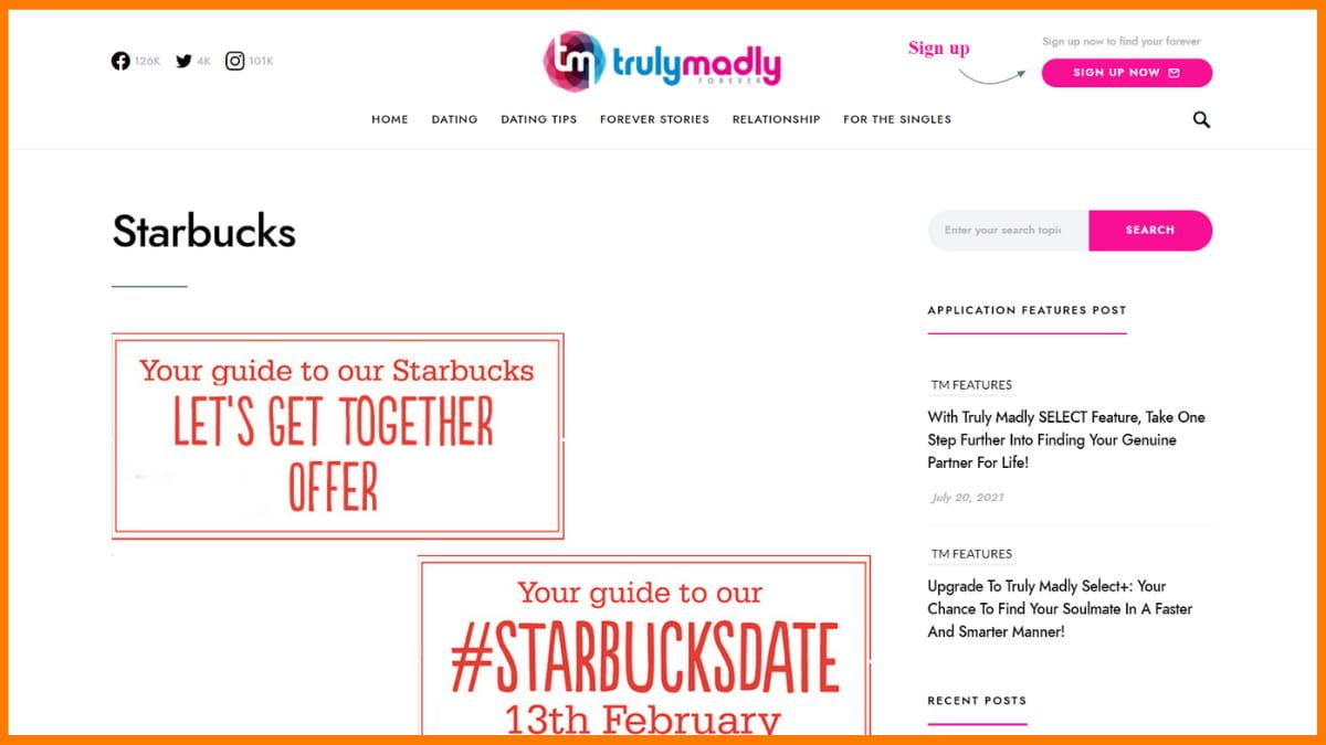 TrulyMadly collaboration with Starbucks