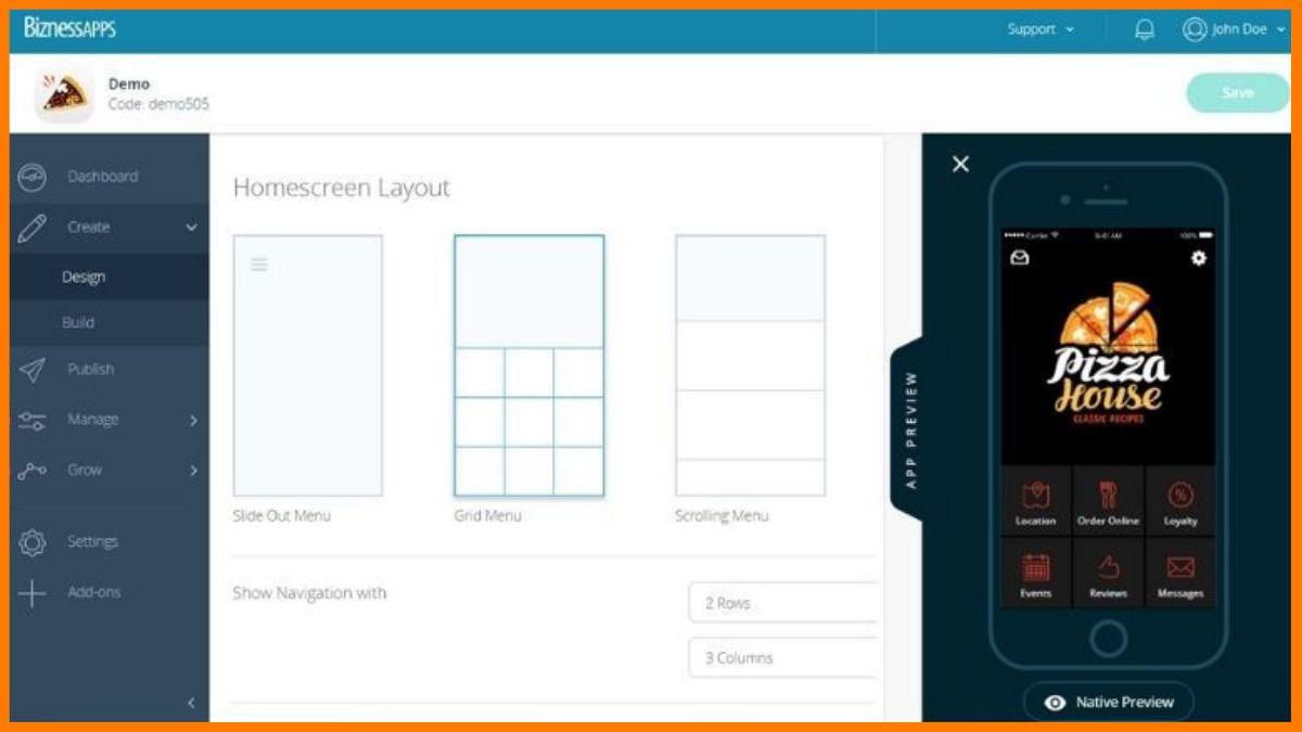 BiznessApps Dashboard | Best No code app builder