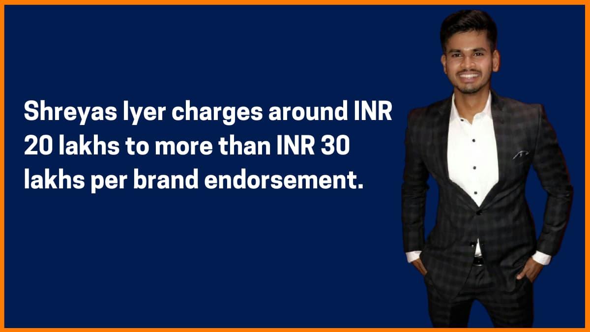 Shreyas Iyer Brand Endorsement Fee