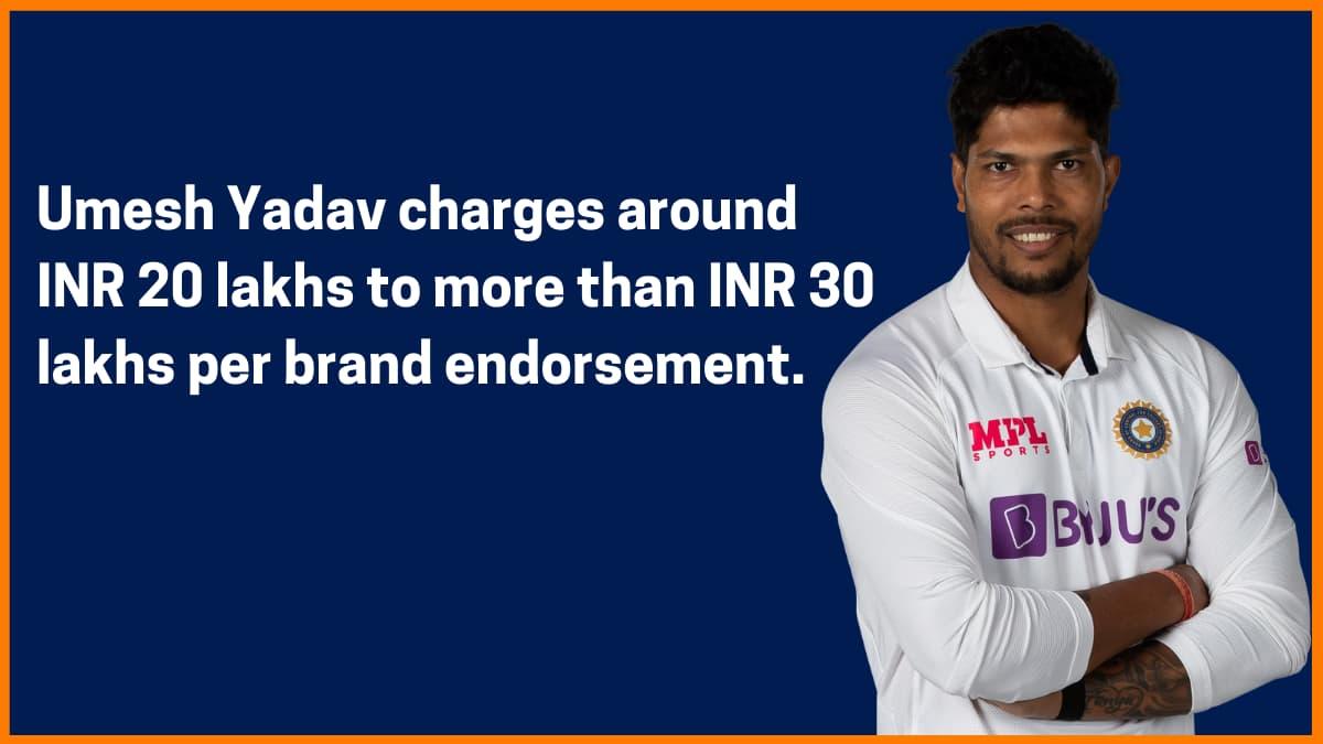 Umesh Yadav Brand Endorsement Fee